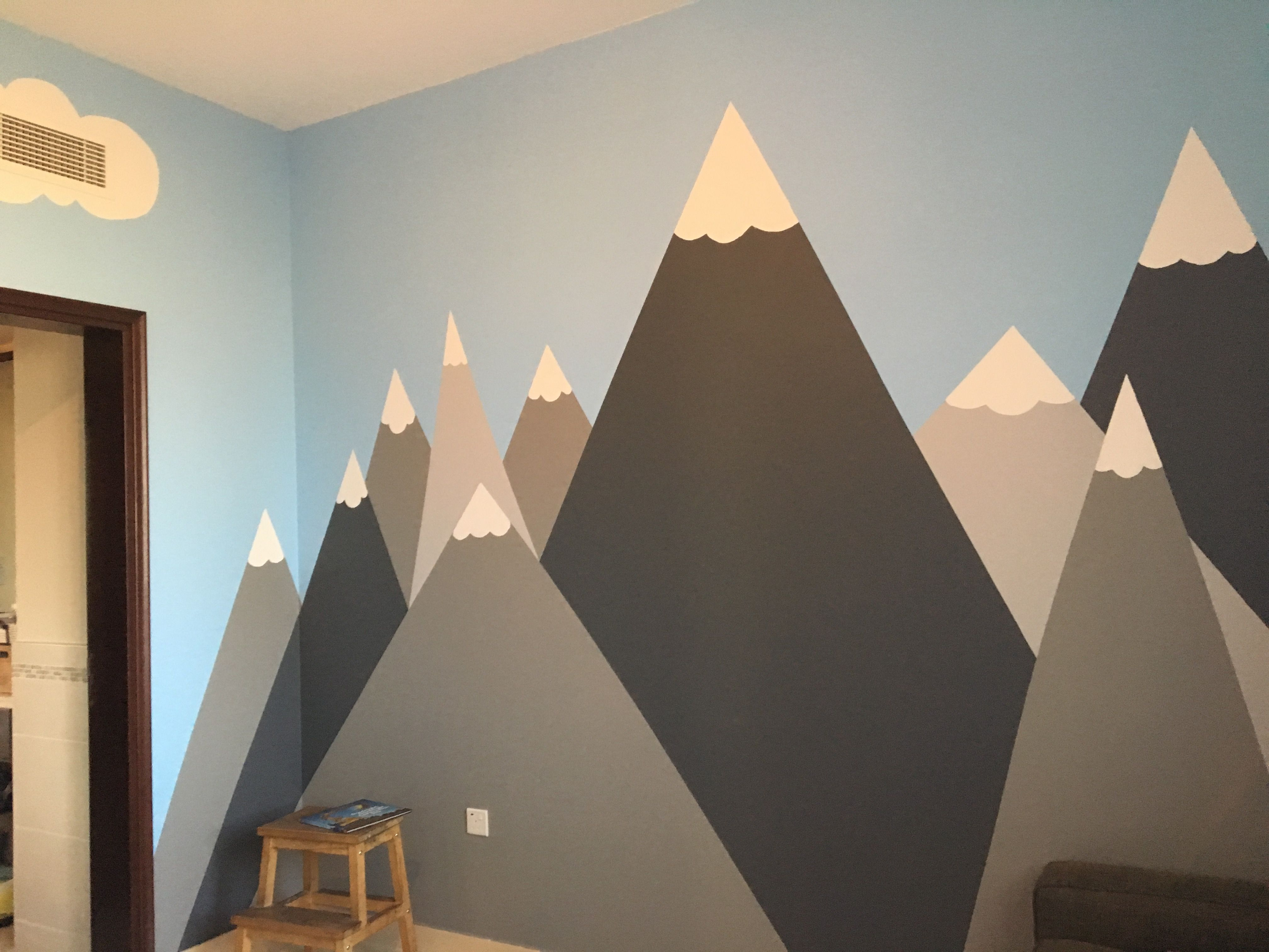 I Used Benjamin Moore Chalkboard Paint To Create These Mountains In My Son S Room Wall Mural Adventure Ro Climbing Wall Kids Diy Climbing Wall Adventure Room