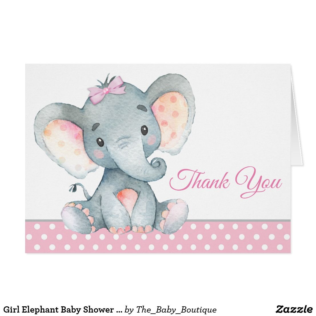 Pink or Blue Elephant Personalised 1st Birthday Thank You Cards Packs