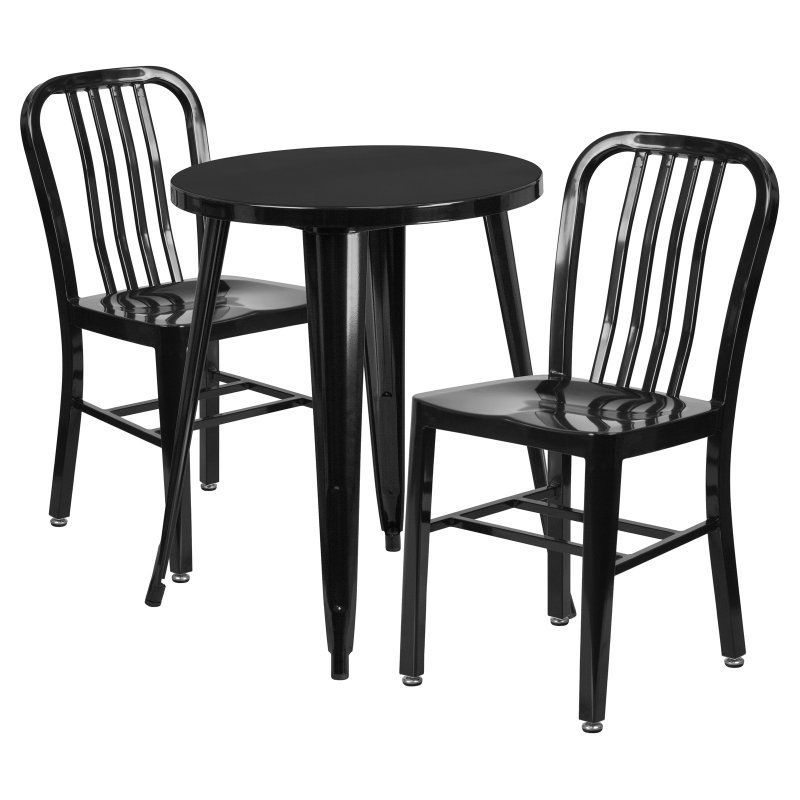 flash furniture 24 in round metal indoor outdoor table set with 2 rh in pinterest com