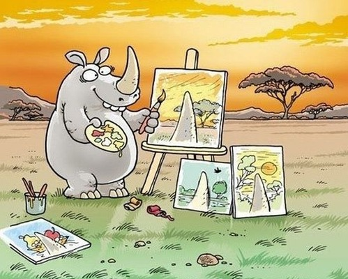 Why rhinos never achieved fame as painters.