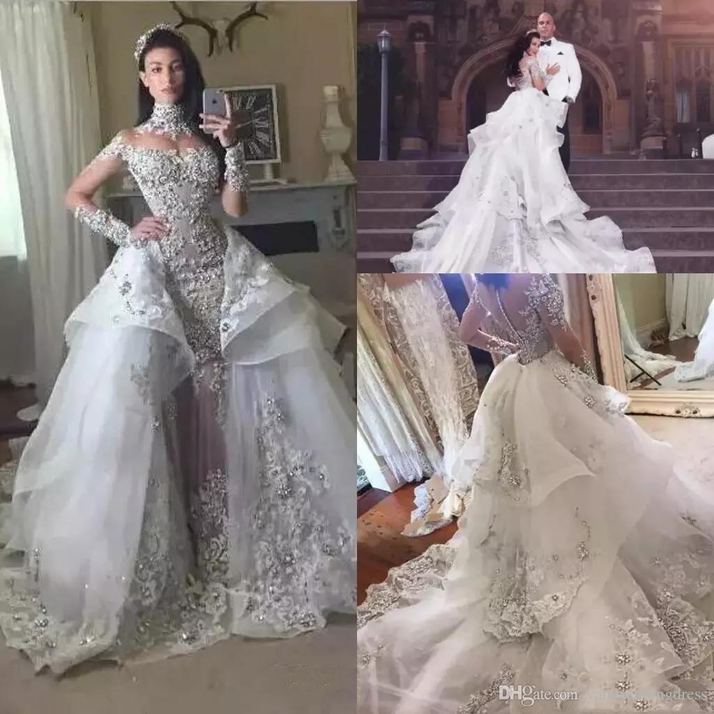 Luxury Crystal Wedding Dresses 2018 With Detachable Skirt