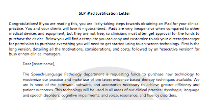 iPad Justification Letter for SLP | CCC SLP | Speech therapy