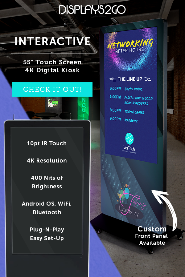 """55"""" Touch Screen Digital Poster Kiosk, 10pt IR Touch"""