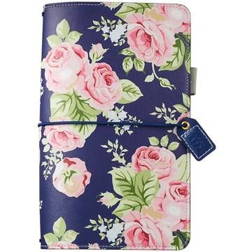 Webster's Pages Color Crush Faux Leather Travelers' Notebook Planner Navy Floral | Blitsy