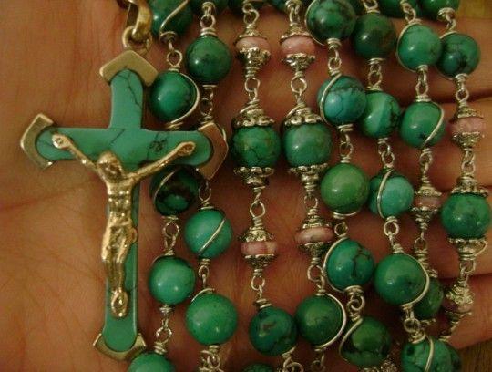 Old Turquoise Rhodochrosite Beads Rosary Cross Crucifix Catholic ...