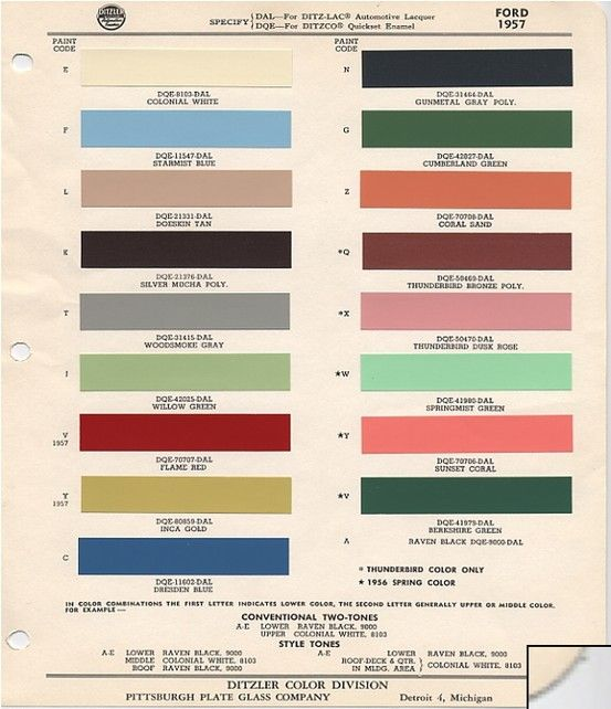 1957 Ford Paint Colors | 1957 Ford Fairlane Club Victorias