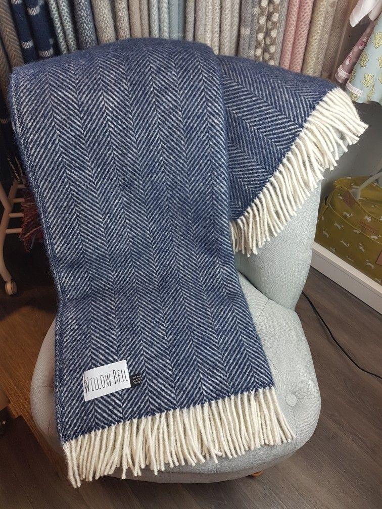 Navy Blue Fishbone Throw Pure New Wool Tweedmill Sofa Bed