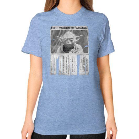 Yoda's Words of Wisdom Unisex T-Shirt (on woman)