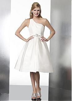 Cute Satin A-line One Shoulder Neckline Natural Waist Knee Length Short Wedding Dresses #Dressilyme