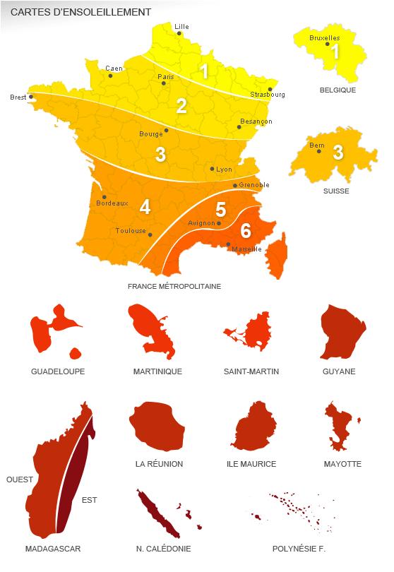Carte d'ensoleillement et gisement d'énergie solaire pour la simulation de kit à panneau solaire ...