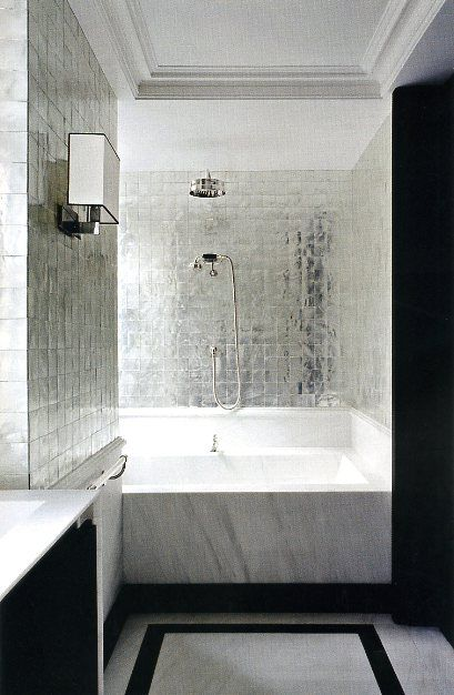 Elegant Black And White Bathroom With Metallic Wall Tiles I Love