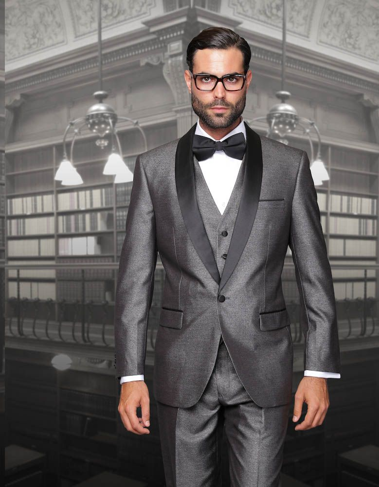 ENZO-2 GRAY CLASSIC 3PC 1 BUTTON SHARKSKIN MENS SUIT WITH SOLID ...
