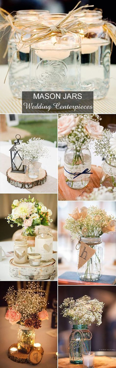 pictures of wedding centerpieces using mason jars%0A Rustic Wedding Ideas     Ways to Use Mason Jars  If you u    re looking to give  your wedding a rustic country touch  try out these mason jar centerpiece  ideas