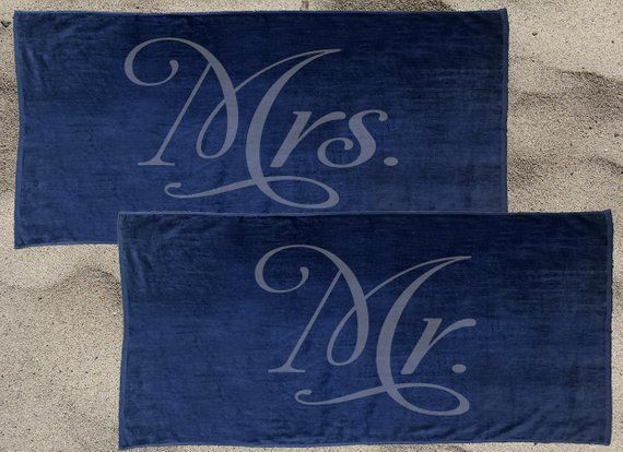 Set Of 2 Navy Mr And Mrs Beach Towel Set For The Honeymoon Mrs