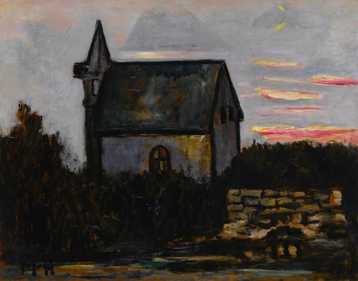 Marsden Hartley (USA 1877-1943)  Church by the Barrens, Indian Harbor Maine (1940)  oil on board 55.9 x 71.1 cm