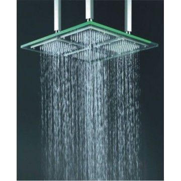 9 Inch 18 Inch Chromed Glass Square Led Rainfall Shower Head F 321