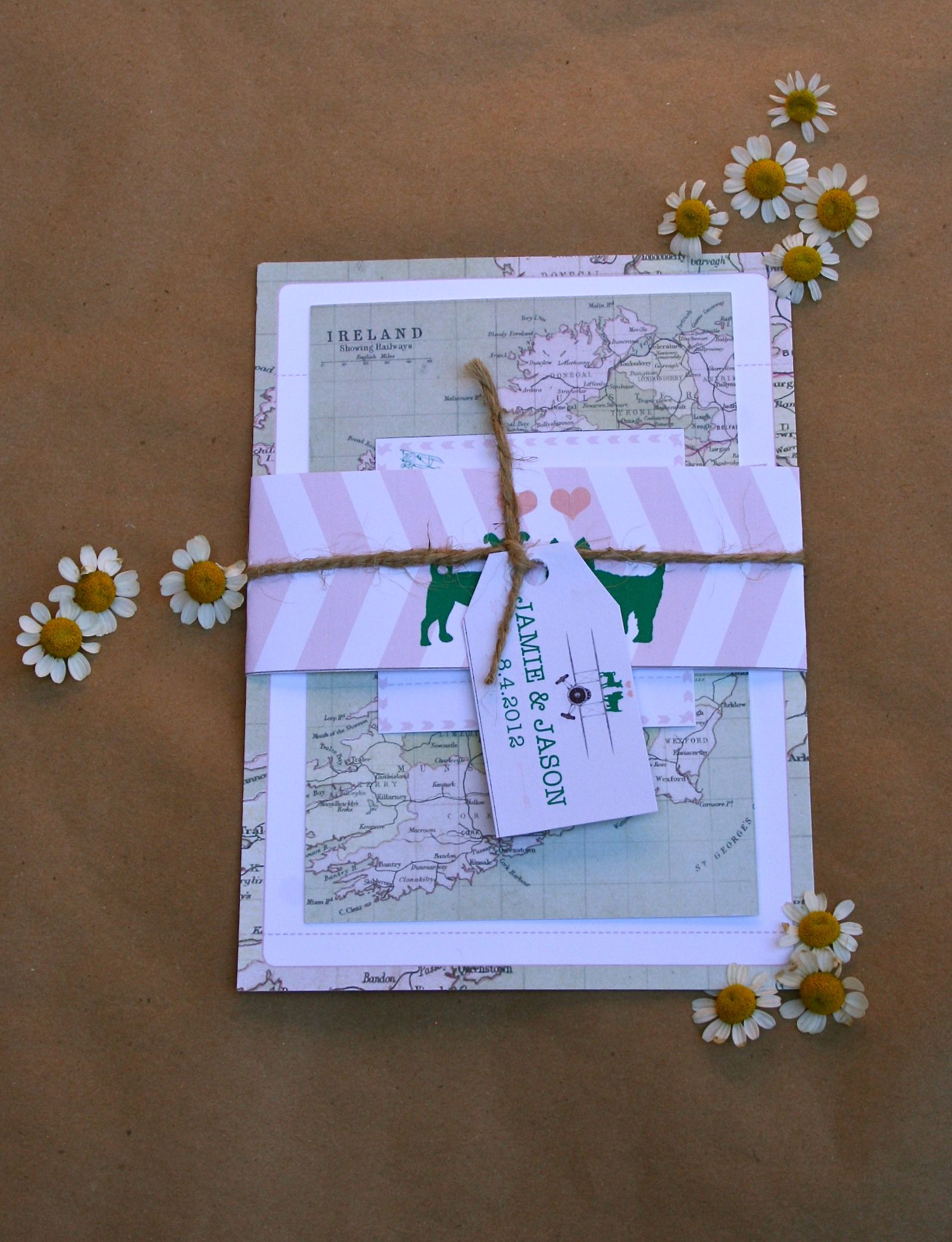 Custom Vintage Ireland Travel Themed Wedding Invitations With Map