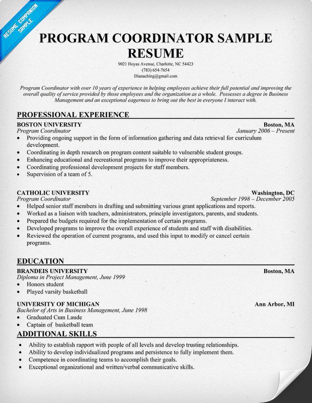 Program Coordinator Resume Template (resumecompanion) Job - coordinator resume examples