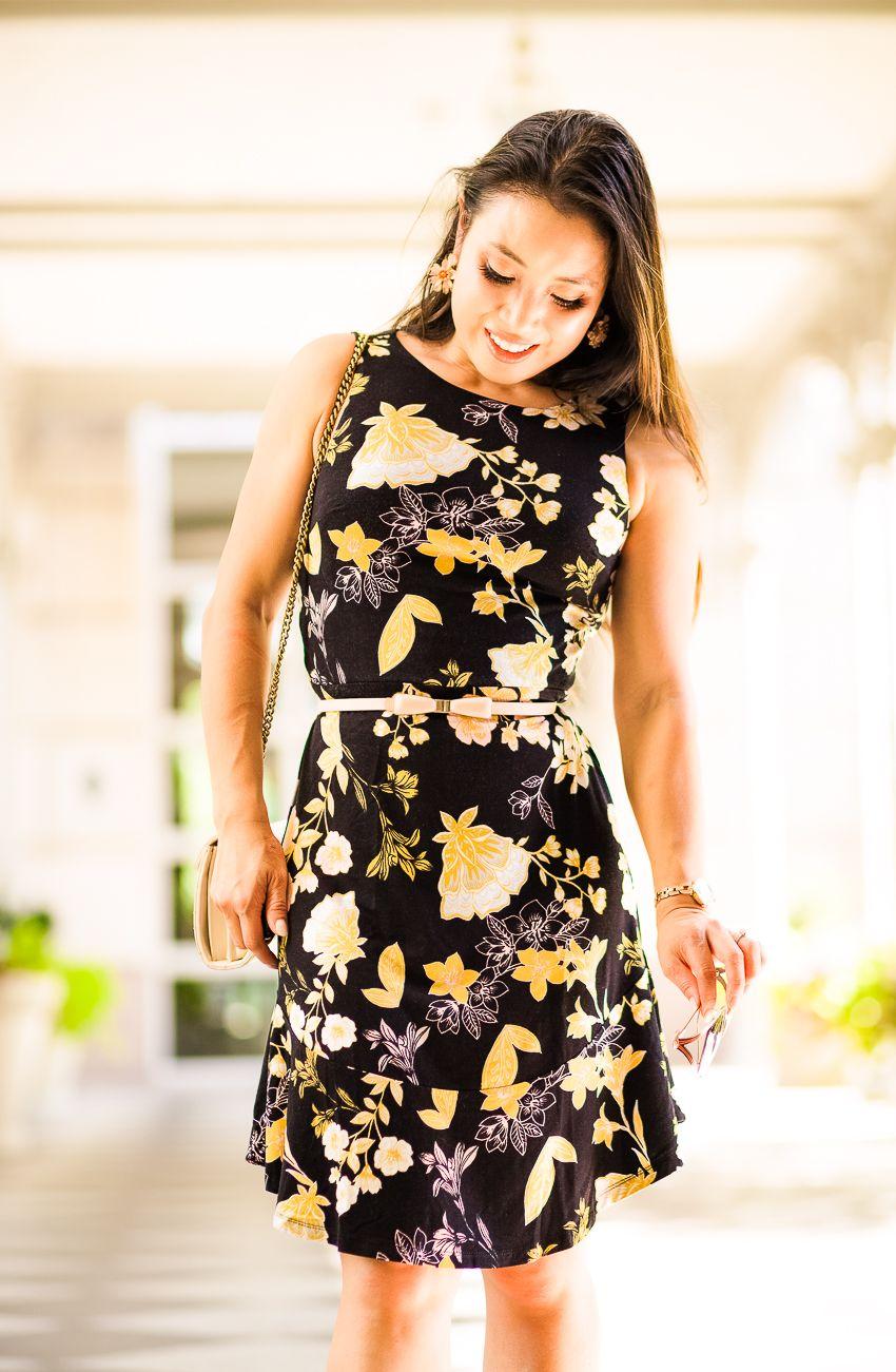 4692d6d69 loft golden floral flare dress, white block heel mules, white sheer  cardigan, gucci sunglasses | little black dress | summer fall outfit | My  New Favorite ...