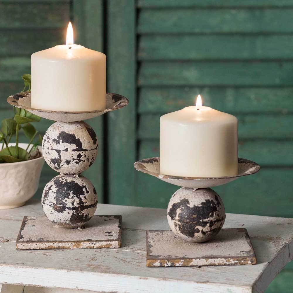Details about set of two spheres pillar candle holders