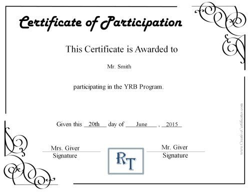 Participation certificate with a comapny logo Raja Pinterest