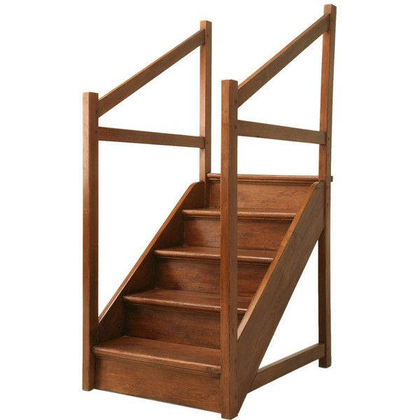 Original Antique English Pine Library Steps ❤ liked on Polyvore featuring stairs