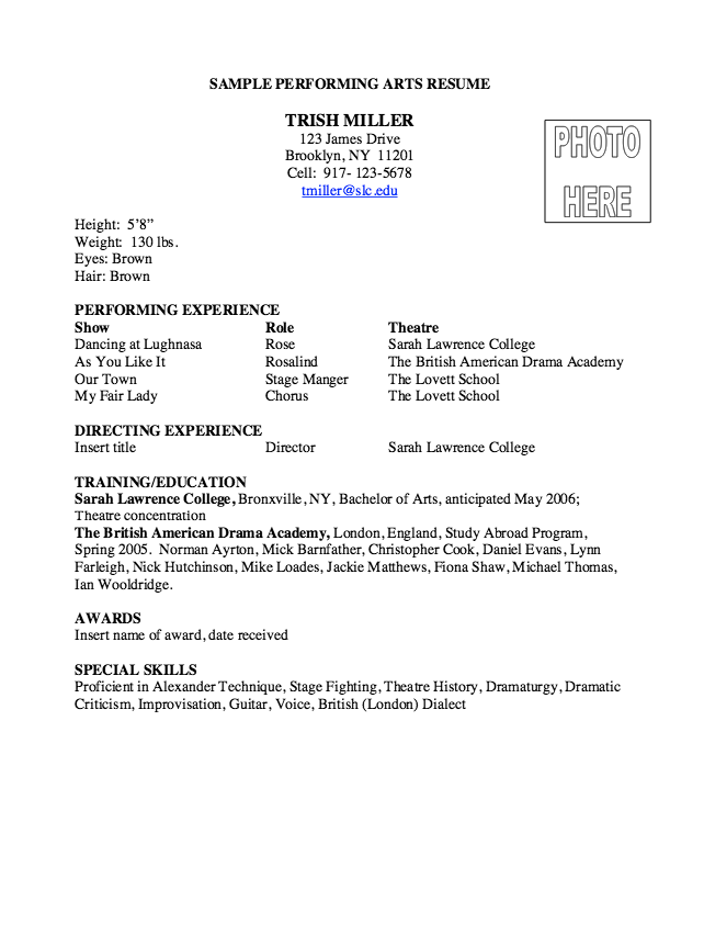 College Resume Performing Arts Resume Sample  Httpresumesdesign