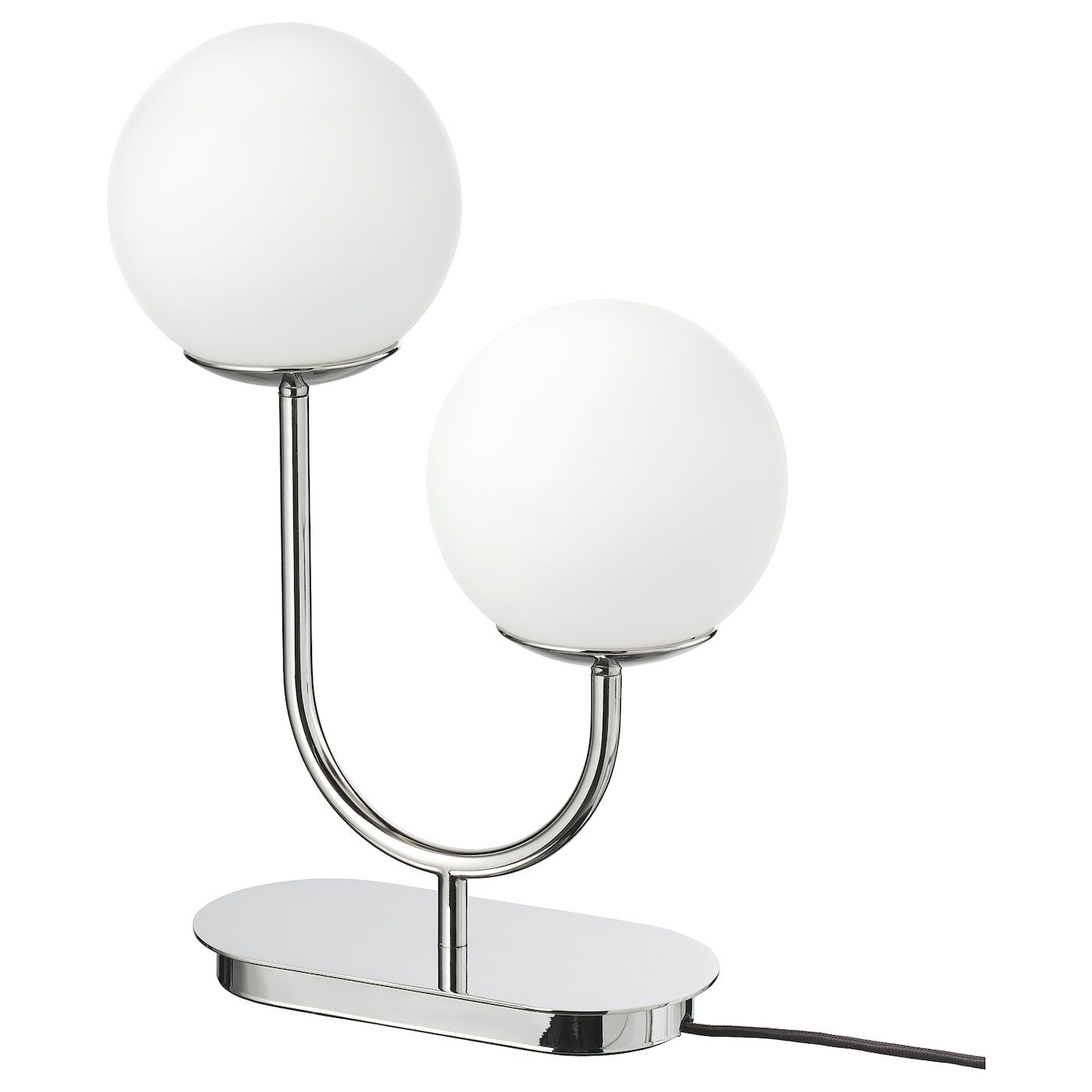 Simrishamn Table Lamp Chrome Plated Opal White Glass 42 Cm In