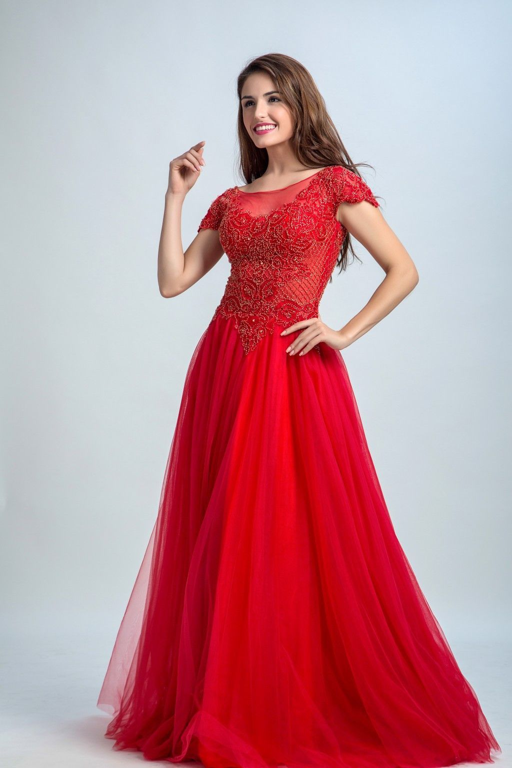 Red color aline scoop short sleeve floorlength tulle pretty prom