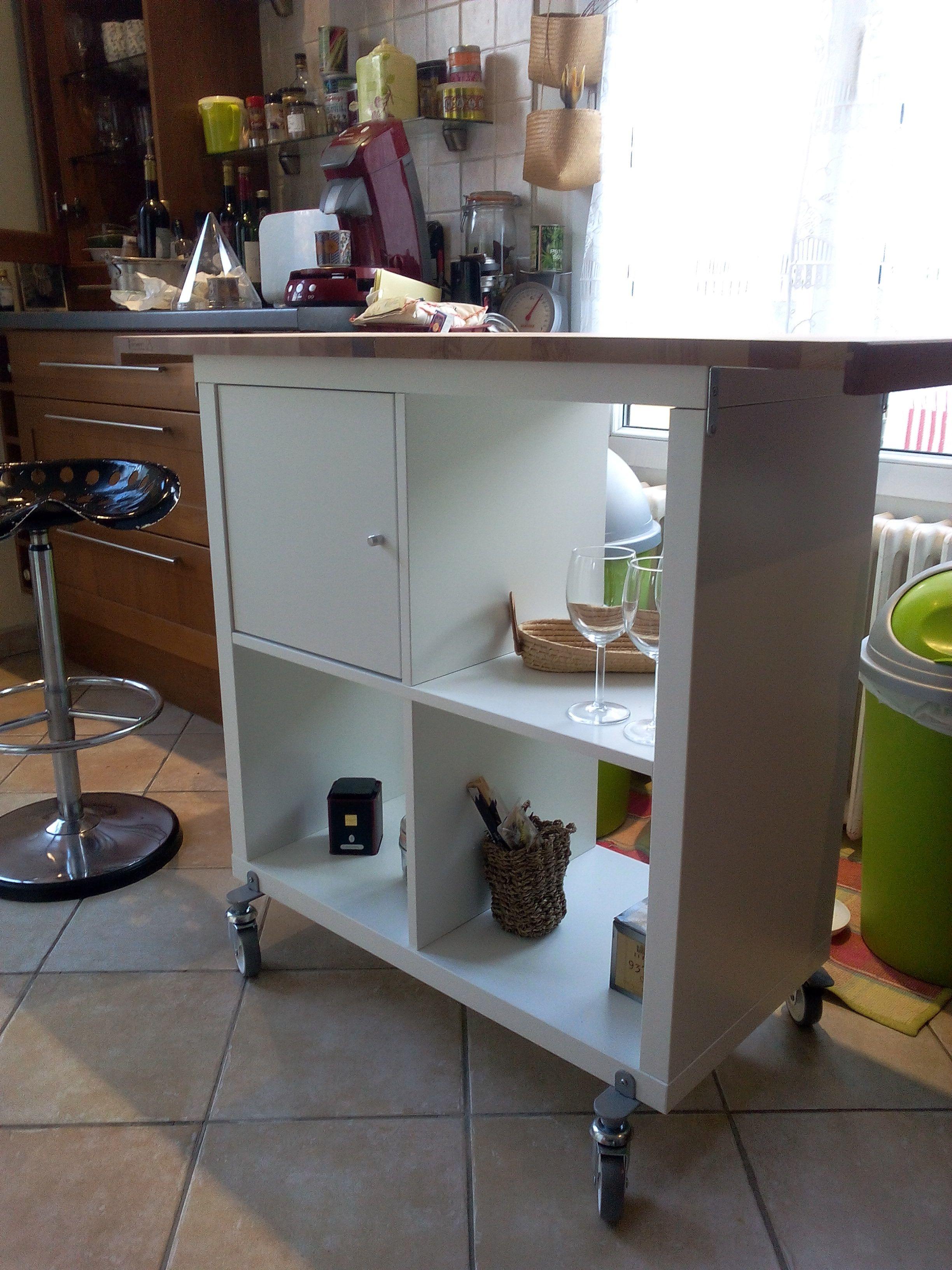 Diy petit lot de cuisine r alis avec 2 planches d couper un meuble ik a 39 et 4 roues - Petit meuble cuisine ikea ...