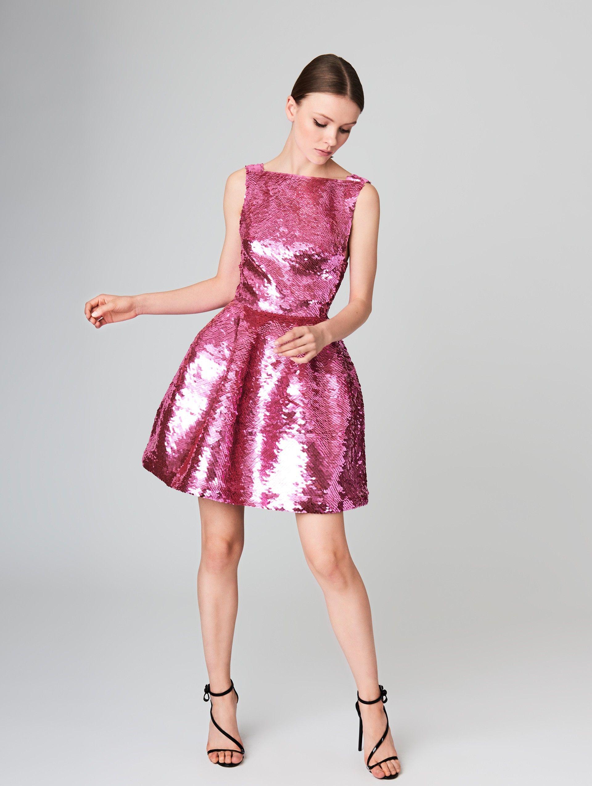 Fish Scale Sequin Embroidered Silk Cocktail Dress | Designer Fashion ...