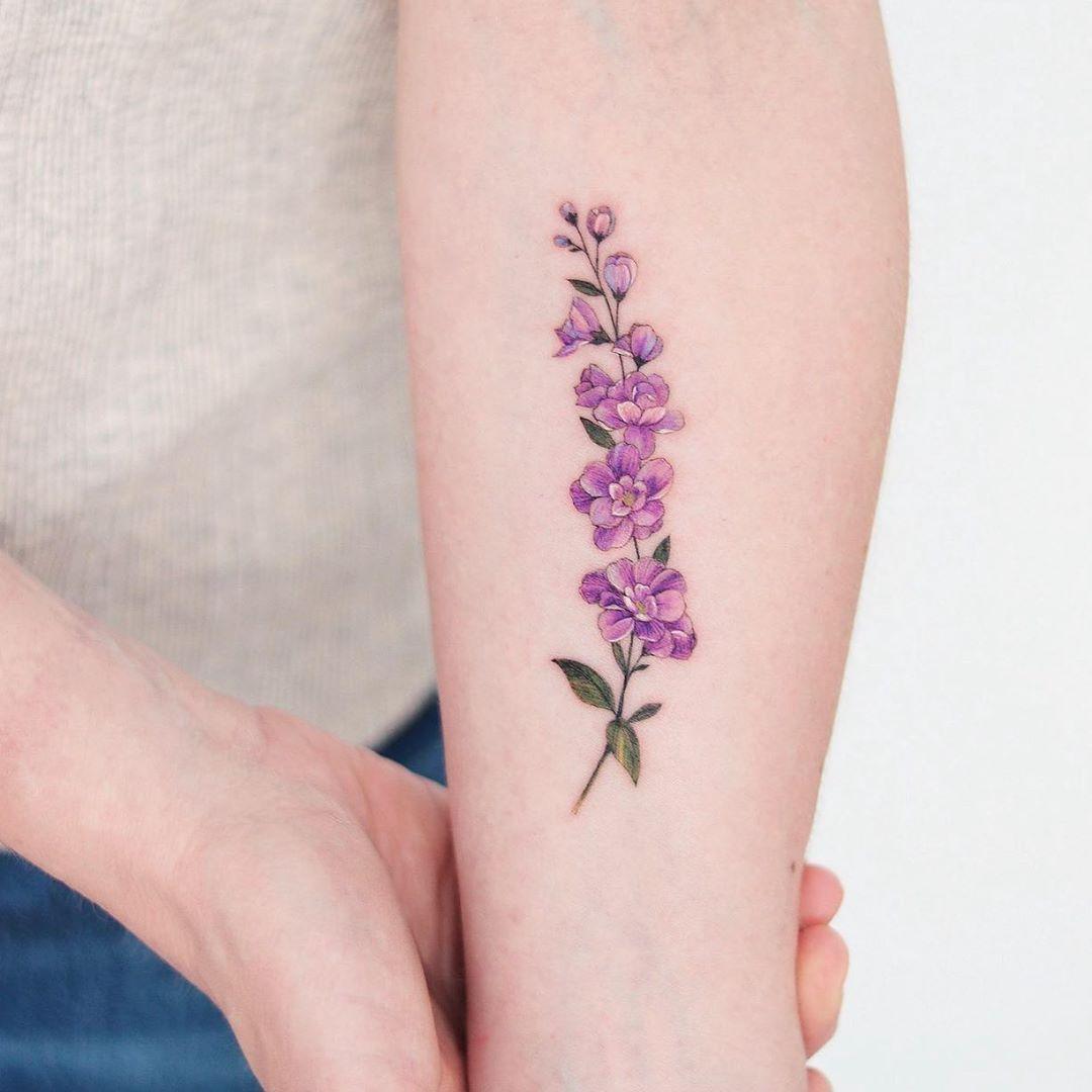 Vestige Tattoo Studio On Instagram Delphinium Flower By Hnnhtattoo Tattoos Delphinium Tattoo Flower Tattoo Designs