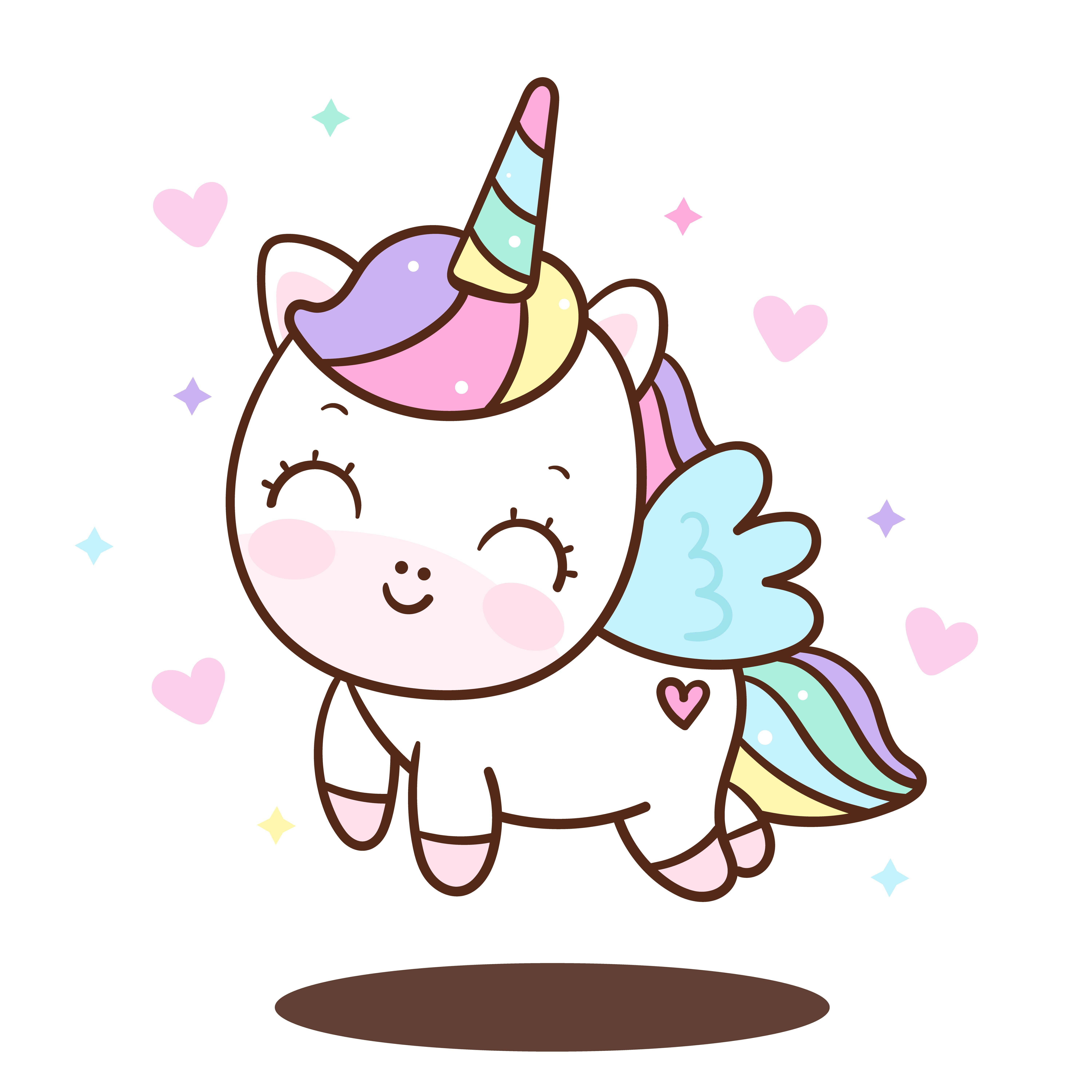 Cute Unicorn Cartoon Pony Child Princess Angel Animal Sweet