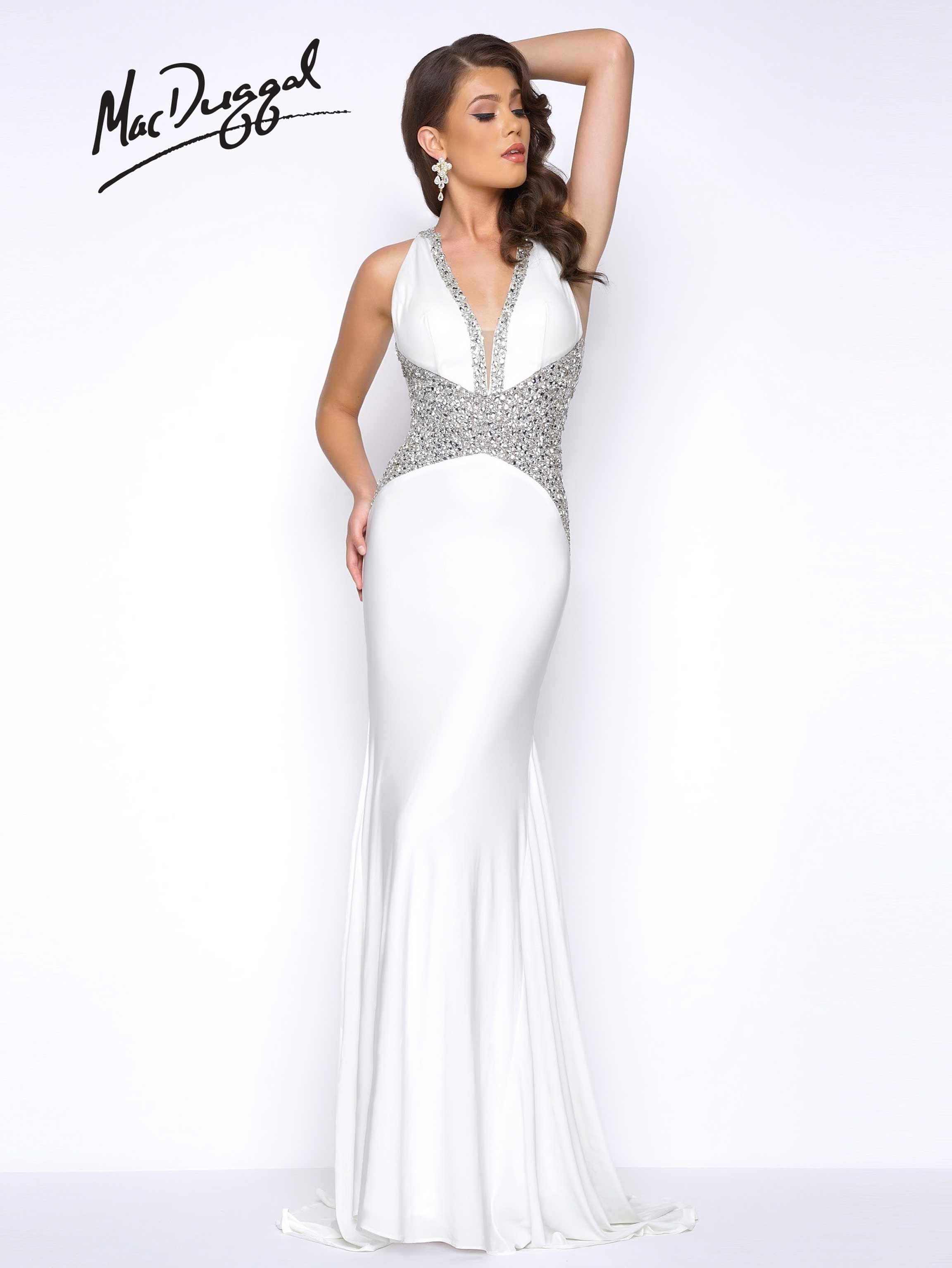 Crepe jersey halter neck embellished bodice sexy mermaid prom