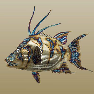 Metal fish art stainless steel sealife sculptures for Metal fish art