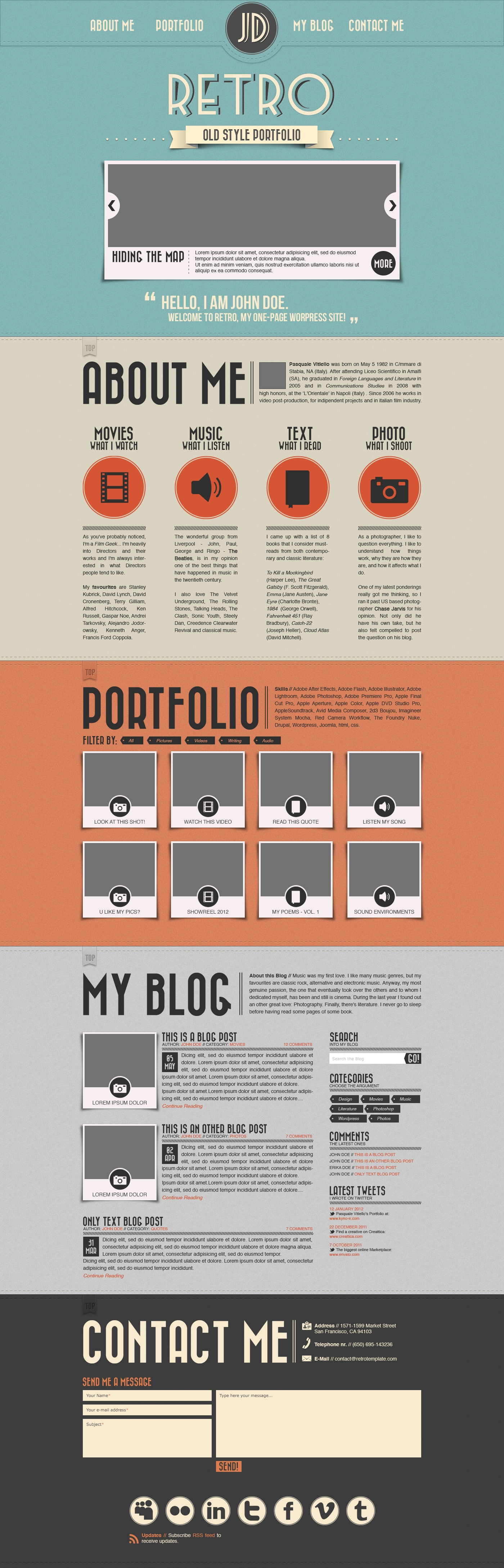 retro portfolio psd template  photoshop  templates  free