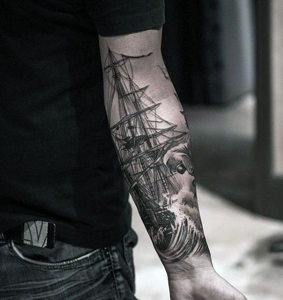 a361b1b4d Mens Sweet Sailing Ship With Ocean Waves Inner Forearm Tattoo #Tattoosformen