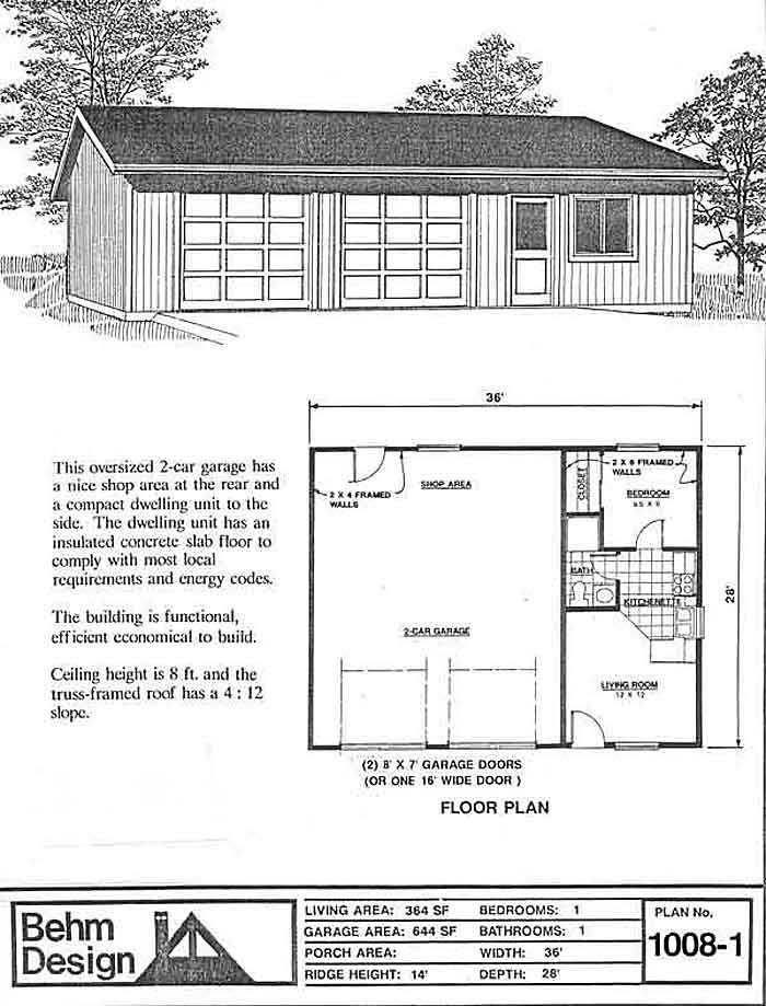 one story garage apartment floor plans 2 car garage plan with apartment by behm designs design code 1008 1 36 x garage 3459
