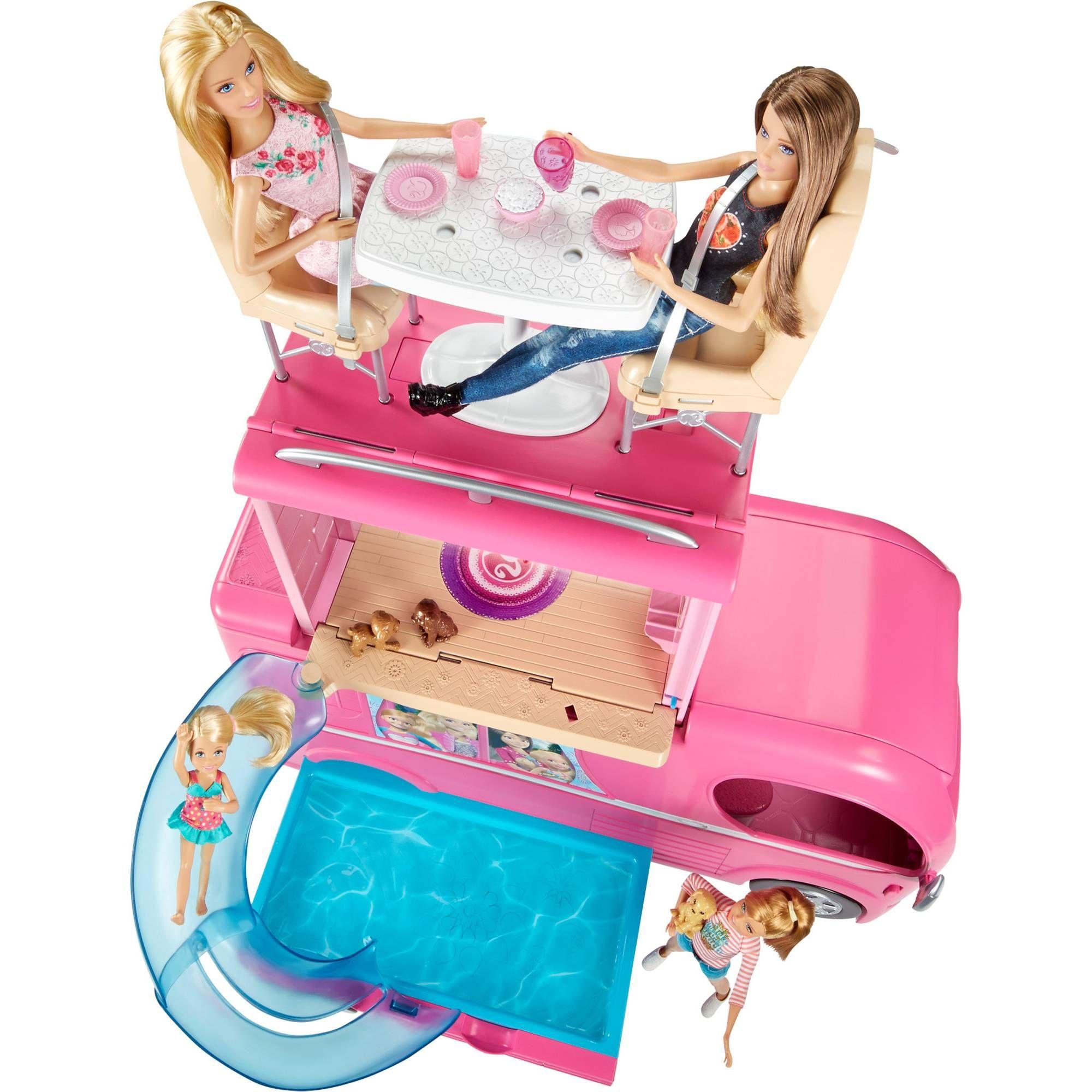 Toys Pop Up Camper Barbie Pink Wheels