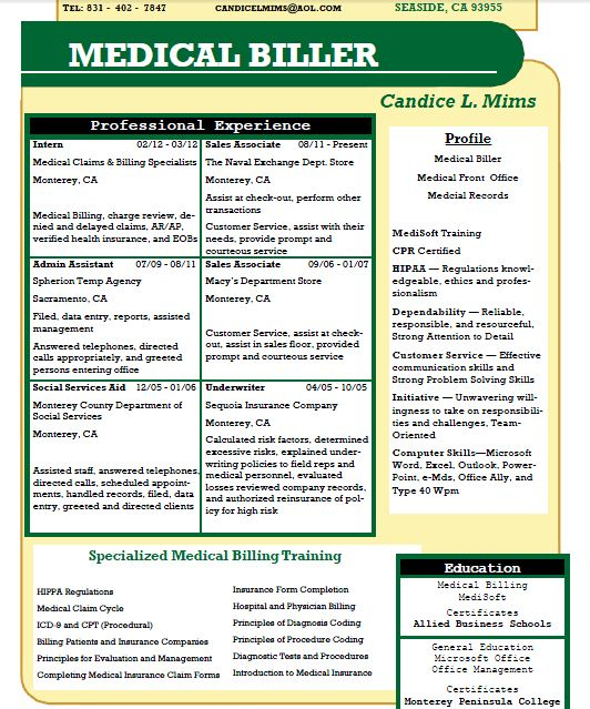Candice L Mims - Allied student resume - Medical Billing - medical billing resume