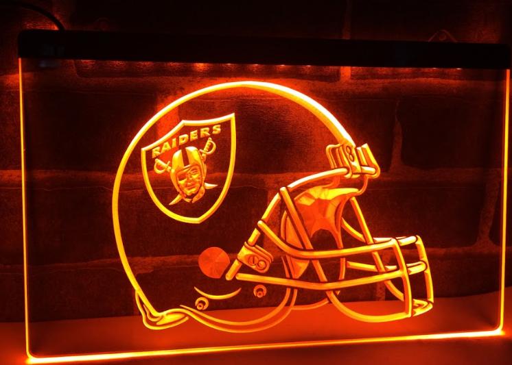 TM Oakland Raiders Helmet Bar Pub Neon Light LED Sign