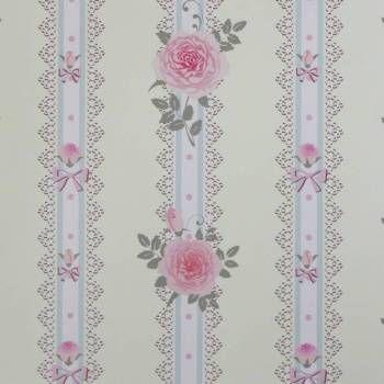 Papel de parede floral rosas delicadas com desenho verde claro, rosa e bege. Fundo amarelo claro. Tamanho: 1 Rolo de 3m (altura) X 50cm (largura).