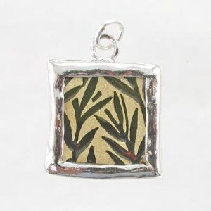 Gold and Green Bamboo Leaves Reversible Square Pendant (Taos Trading)