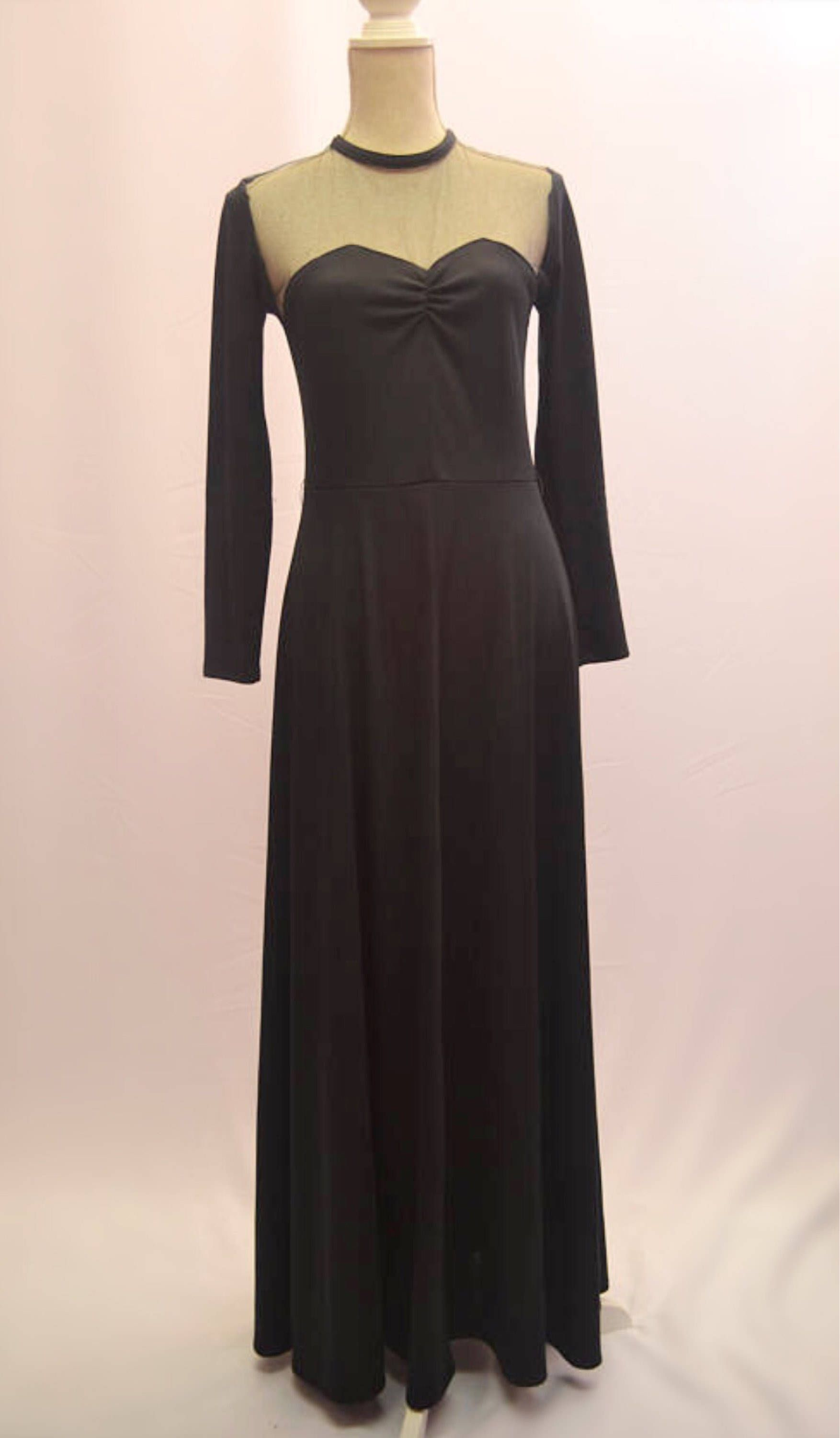 Us long black evening dress with sexy sheer chest detail and