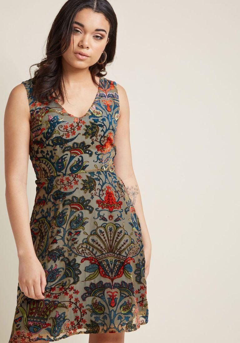 9040f027aa07 Burnout Velvet A-Line Dress in XS   Products   Dresses, ModCloth, Velvet
