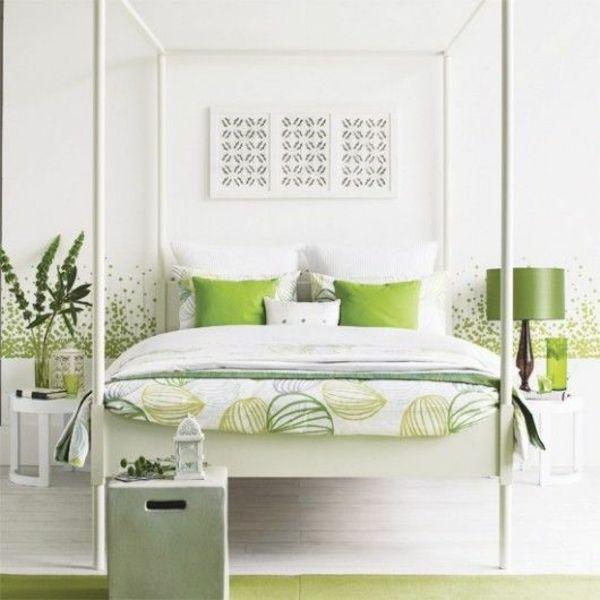 feng shui schlafzimmer einrichten farben grün zimmergrünpflanzen - schlafzimmer feng shui