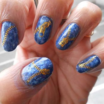 Jeans And Zipper Water Decals Nail Art Tutorial