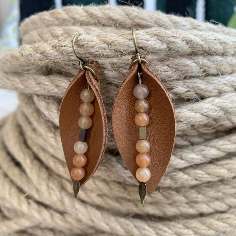 Photo of Boho Leather Leaf Earrings  – Earthy Bohemian Jewelry in Warm Brown Leather with Natural Stone Dangl