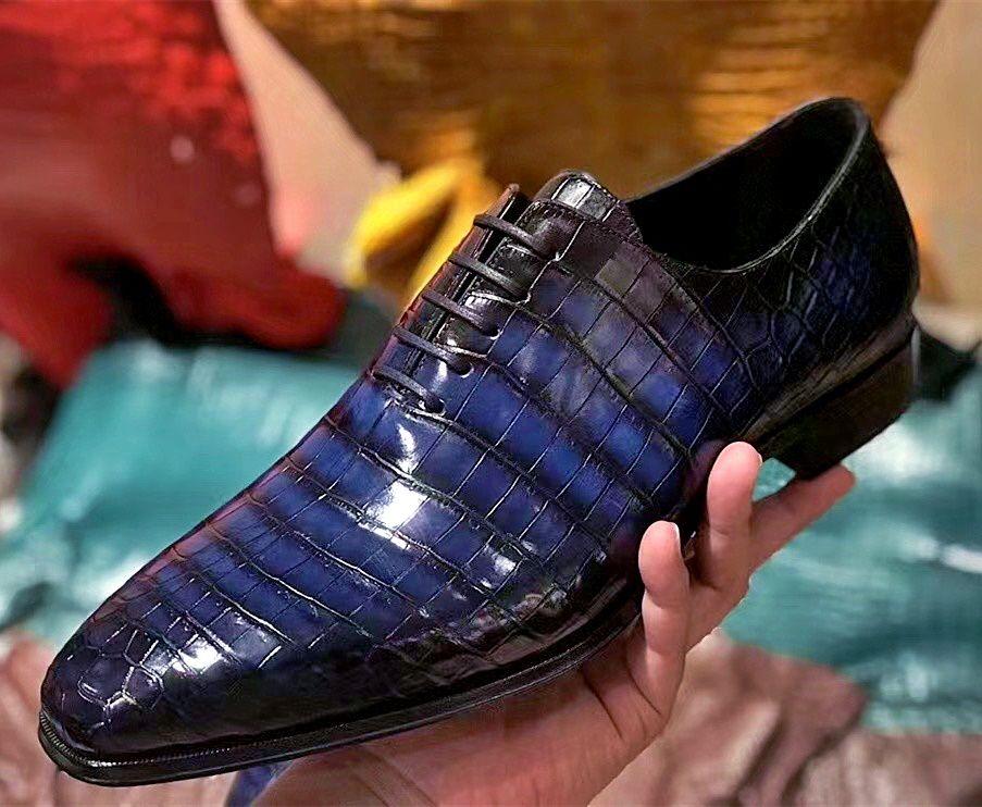 Men's Genuine Alligator Leather Derby Shoes in Goodyear