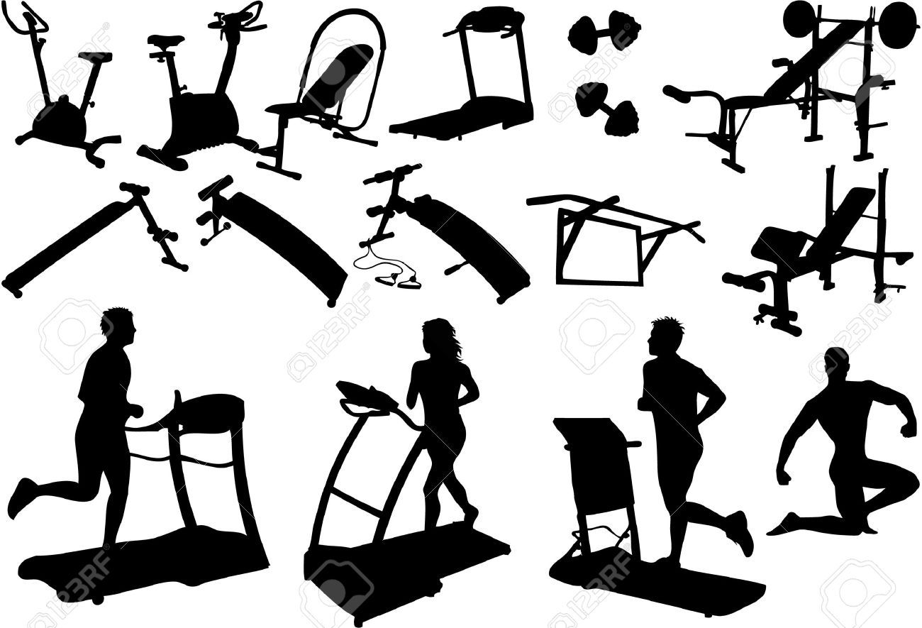 Gym Equipment Gym Equipment Made In The Image Vectors